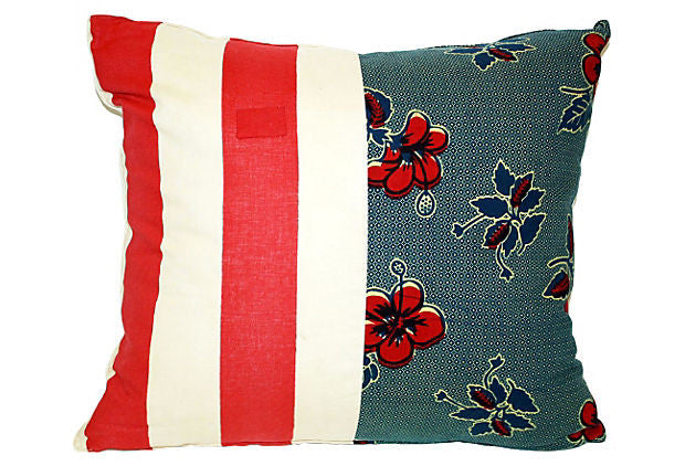 Floral & Striped Patchwork Pillow VPL00013