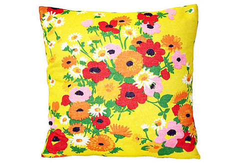 1960s British Floral Bouquet Pillow