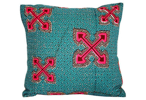 African Wax-Print Textile Pillow