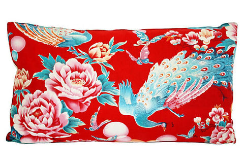 Chinese Floral Peacock Lumbar Pillow VPL00056
