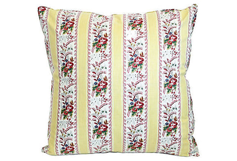 French Floral Ticking Pillow VPL00058