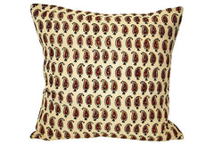 Block Print Paisley Pillow VPL00062