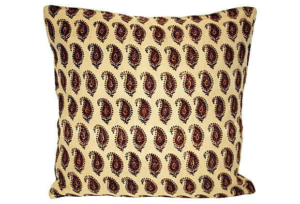 Block Print Paisley Pillow VPL00063