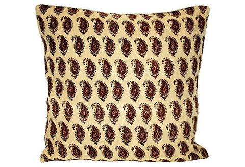 Block Print Paisley Pillow
