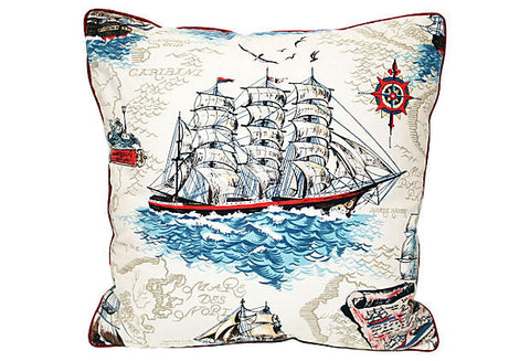 Nautical Clipper Ship Pillow VPL00069