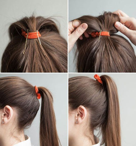perky ponytail trick to add volume to ponytail with bobby pins
