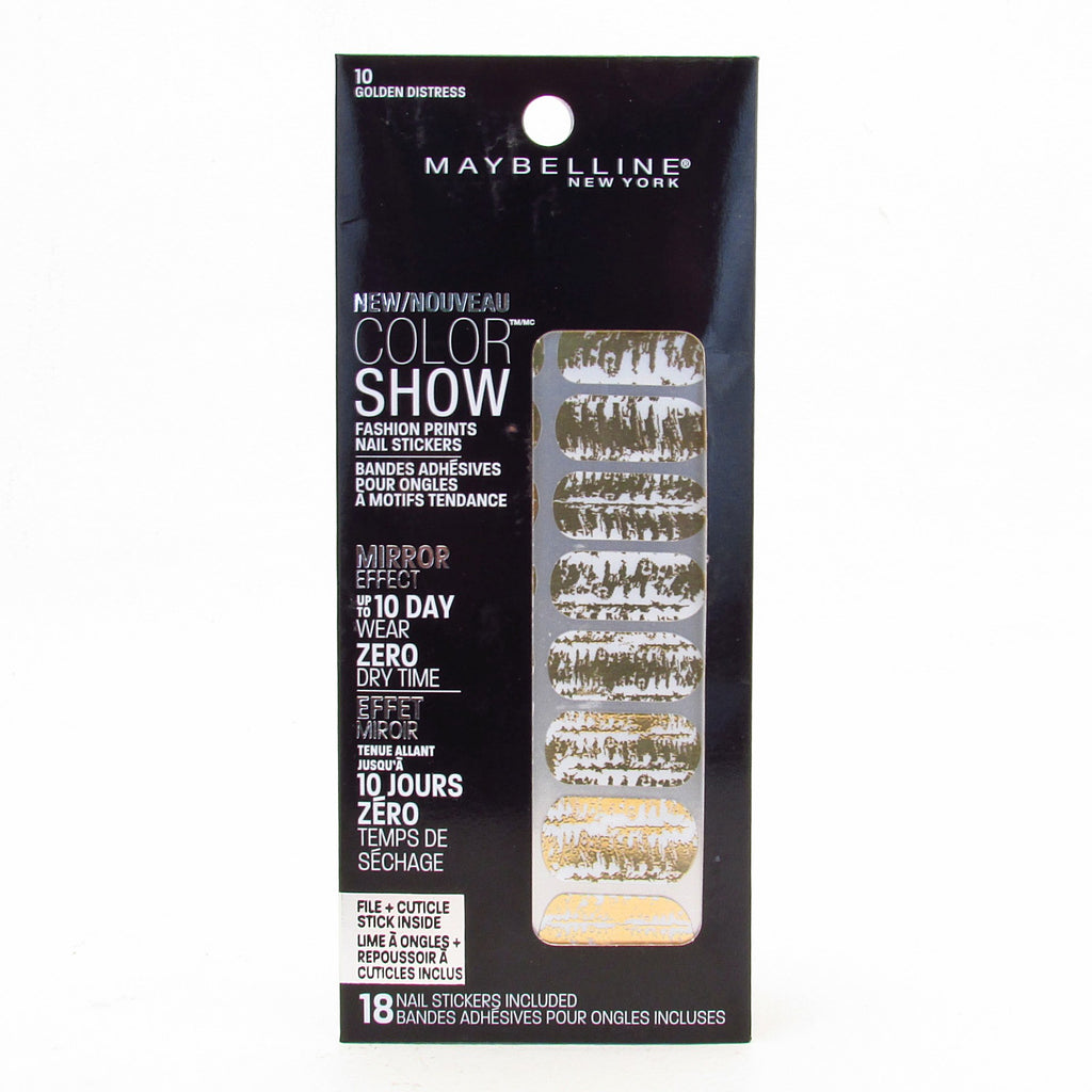 Maybelline Color Show Fashion Print Nail Stickers #10 Golden Distress
