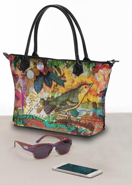 Autumn Birds Large Handbag - Deborah Cherrin Design