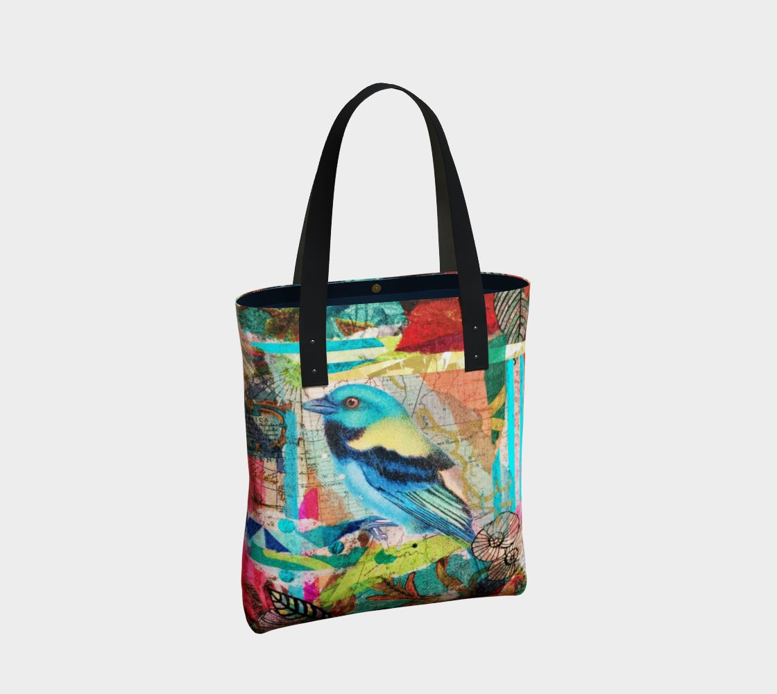 Bird in Paradise Premium Canvas Tote Bag - Deborah Cherrin Design