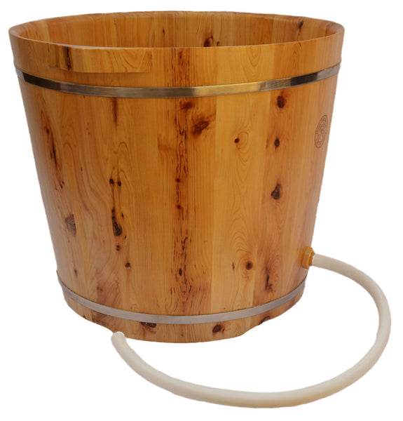 Tall Cedar Wood Foot Soak Tub with Drainage Hole and Tube