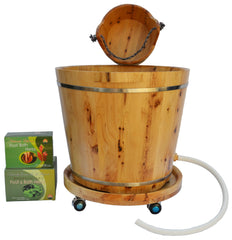 New Arrival Ultimate Foot Soak Home Spa Set - 5 items: Tall Cedar Wood with drainage hole/tube tub, Small Cedar Wood Bucket, Cedar Wood Tub Moving Wheel, 1 box of Natural Chinese Foot Soak Herbs, 1 box of Mugwort Foot and Bath Herbs