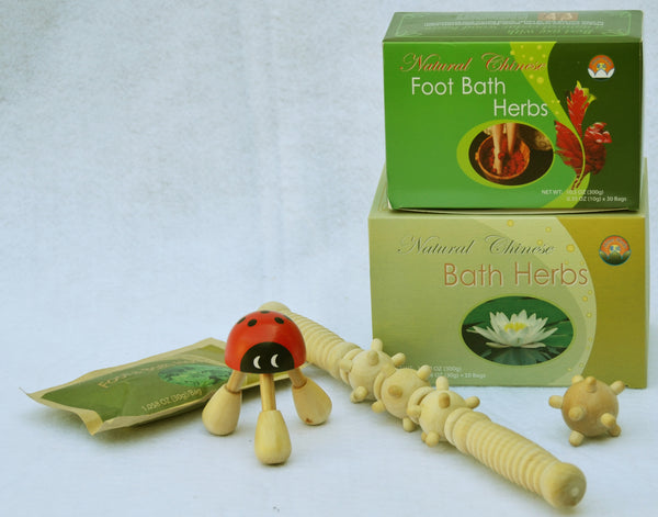 Hand/Wrist/Finger set: 1 box of Natural Chinese Foot Soak Herbs, 1 box of Natural Chinese Bath Herbs, Wooden Ladybug Kneading Massager, Wooden Meridian Roller, Wooden Acupressure Hand & Foot Massage Ball Plus 1 FREE bag of Mugwort Herb