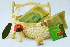 Mini Bucket Set: Wooden Ladybug Kneading Massager, Wooden Acupressure Hand & Foot Massage Ball, Handheld Acupressure Patter, Wooden Foot File, Wooden Mini Accessories Bucket Plus 2 FREE bag of Mugwort Herb and 1 bag of Bath Herbs