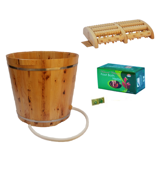 Cedar Wood Foot Soak Tub With Built-In Acupoints, 1 Box Foot Soak Herbs, 5-Roll Wooden Massage Roller, 2 FREE bags Mugwort & Bath Herbs samples $8 Value, 1 FREE Wooden 16 Wheel Contour Moon Car Body Massager