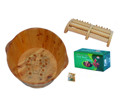 Cedar Wood Foot Soak Tub With Built-In Acupoints, 1 Box of Foot Soak Herb, and 5-Roll Wooden Massage Roller