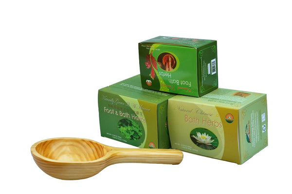 3 Natural Chinese Foot/Bath Herb, + Wooden Spoon (new eco friendly resuable satin bags package)