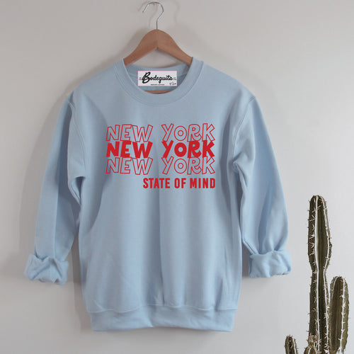 New York State of Mind | Display View | Bodeguita NYC Baby Blue Sweatshirt | Designs Made with Happiness in NYC