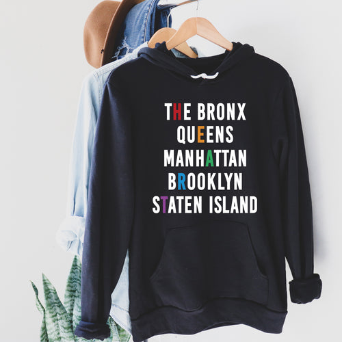 The 5 Borough Heart | White Letters | Display View | Bodeguita NYC Black Hoodie | Designs Made with Happiness in NYC