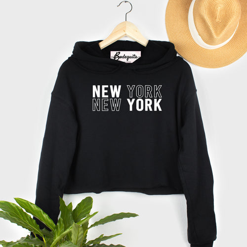 New York New York | Display View | Bodeguita NYC Black Cropped Hoodie | Designs Made with Happiness in NYC