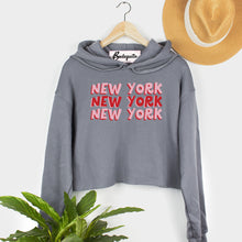 Load image into Gallery viewer, New York X3 | Display View | Bodeguita NYC  Gray Cropped Hoodie | Designs Made with Happiness in NYC