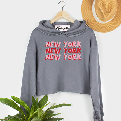 New York X3 | Display View | Bodeguita NYC  Gray Cropped Hoodie | Designs Made with Happiness in NYC