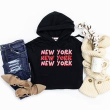 Load image into Gallery viewer, New York X3 | Bodeguita NYC Black Cropped Hoodie | Designs Made with Happiness in NYC
