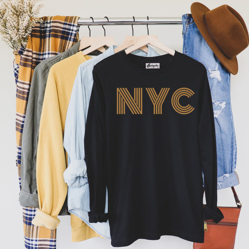 NYC is Golden | Display View | Bodeguita NYC Black Long Sleeve | Designs Made with Happiness in NYC