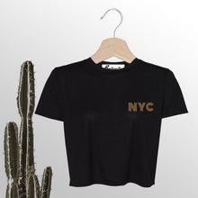 Load image into Gallery viewer, NYC is Golden | Embroidery | Display View | Bodeguita NYC Black Cropped T-shirt | Designs Made with Happiness in NYC