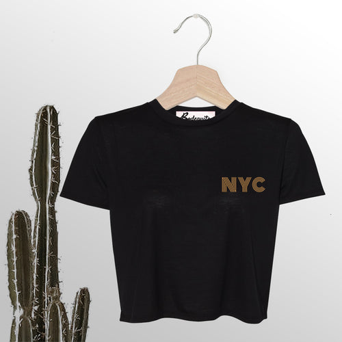 NYC is Golden | Embroidery | Display View | Bodeguita NYC Black Cropped T-shirt | Designs Made with Happiness in NYC