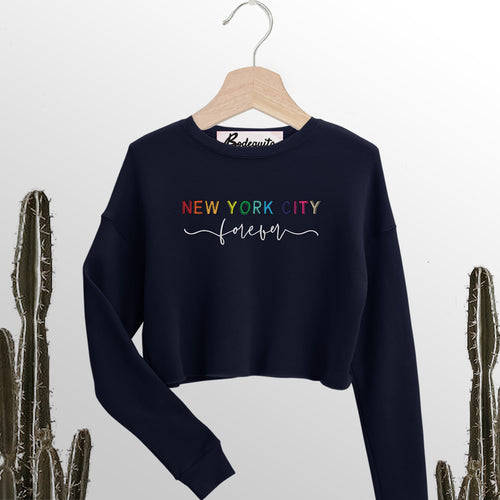New York City Forever | Display View | Bodeguita NYC Navy Cropped Sweatshirt | Designs Made with Happiness in NYC