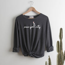 Load image into Gallery viewer, New York City Heart | Display View | Bodeguita NYC Dark Gray Long Sleeve | Designs Made with Happiness in NYC