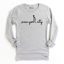 Load image into Gallery viewer, New York City Heart | Bodeguita NYC Light Gray Long Sleeve | Designs Made with Happiness in NYC