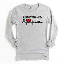 Load image into Gallery viewer, NYC Heart Skyline | Bodeguita NYC Gray Long Sleeve | Designs Made with Happiness in NYC