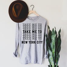 Load image into Gallery viewer, Take Me to NYC | Display View | Bodeguita NYC Gray Long Sleeve | Designs Made with Happiness in NYC
