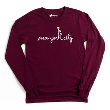 Load image into Gallery viewer, New York City Heart | Bodeguita NYC Maroon Long Sleeve | Designs Made with Happiness in NYC