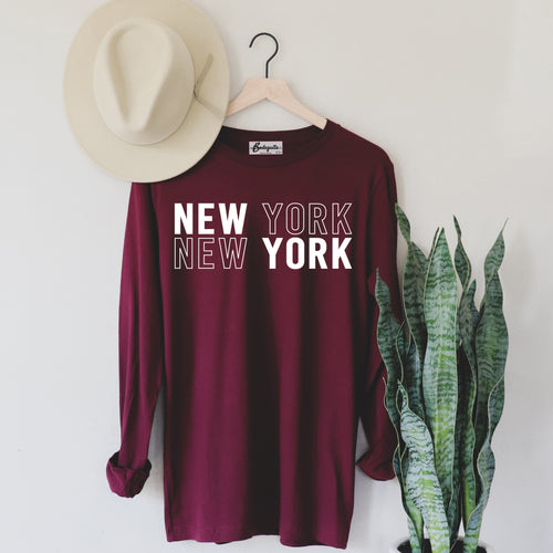 New York New York | Display View | Bodeguita NYC Red Long Sleeve | Designs Made with Happiness in NYC