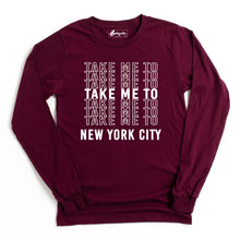 Load image into Gallery viewer, Take Me to NYC | White Letters | Bodeguita NYC Red Long Sleeve | Designs Made with Happiness in NYC