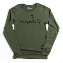 Load image into Gallery viewer, New York City Heart | Bodeguita NYC Military Green Long Sleeve | Designs Made with Happiness in NYC
