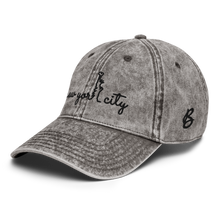 Load image into Gallery viewer, New York City Vintage White Cap | Black Letters | Side View | Bodeguita NYC Baseball Cap | Designs Made with Happiness in NYC