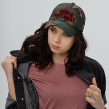 Load image into Gallery viewer, Keep 6 FT Away Cameo Cap | Red Letters | Model Sample | Bodeguita NYC Baseball Cap | Designs Made with Happiness in NYC