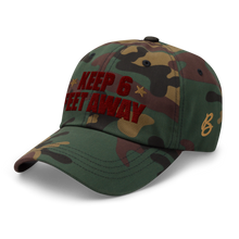 Load image into Gallery viewer, Keep 6 FT Away Cameo Cap | Red Letters | Side View Alt | Bodeguita NYC Baseball Cap | Designs Made with Happiness in NYC