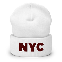 Load image into Gallery viewer, NYC | Maroon Letters | Display View | Bodeguita NYC White Beanie | Designs Made with Happiness in NYC