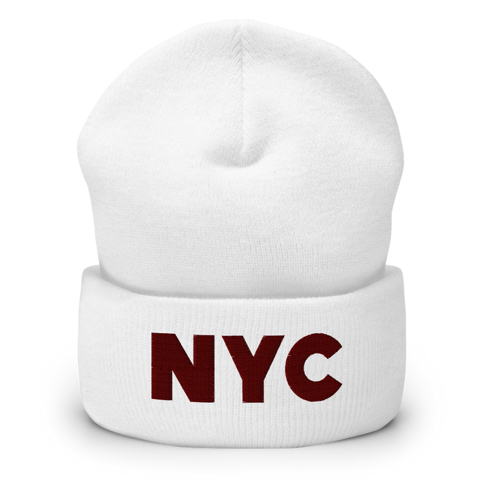 NYC | Maroon Letters | Display View | Bodeguita NYC White Beanie | Designs Made with Happiness in NYC
