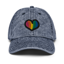 Load image into Gallery viewer, Rainbow Heart Vintage Navy Cap | Front View | Bodeguita NYC Baseball Cap | Designs Made with Happiness in NYC