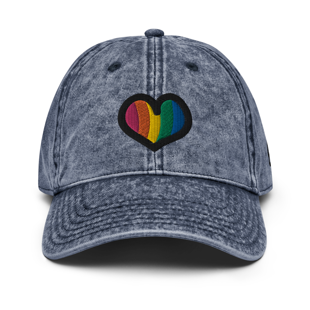 Rainbow Heart Vintage Navy Cap | Front View | Bodeguita NYC Baseball Cap | Designs Made with Happiness in NYC