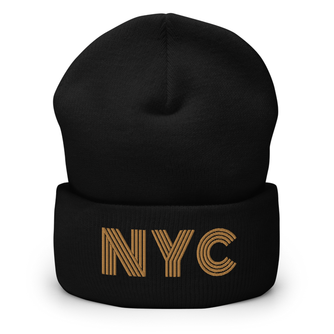 NYC is Golden | Display View | Bodeguita NYC Black Beanie | Designs Made with Happiness in NYC