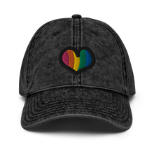 Load image into Gallery viewer, Rainbow Heart Vintage Black Cap | Front View | Bodeguita NYC Baseball Cap | Designs Made with Happiness in NYC