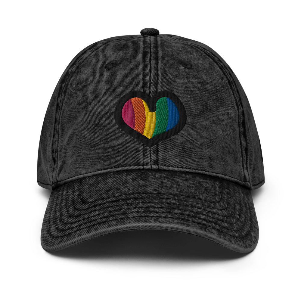 Rainbow Heart Vintage Black Cap | Front View | Bodeguita NYC Baseball Cap | Designs Made with Happiness in NYC