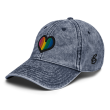 Load image into Gallery viewer, Rainbow Heart Vintage Navy Cap | Side View | Bodeguita NYC Baseball Cap | Designs Made with Happiness in NYC