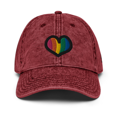 Rainbow Heart Vintage Red Cap | Front View | Bodeguita NYC Baseball Cap | Designs Made with Happiness in NYC